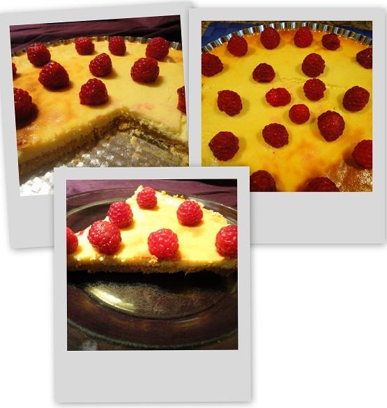 Słodka tarta serowo - malinowa