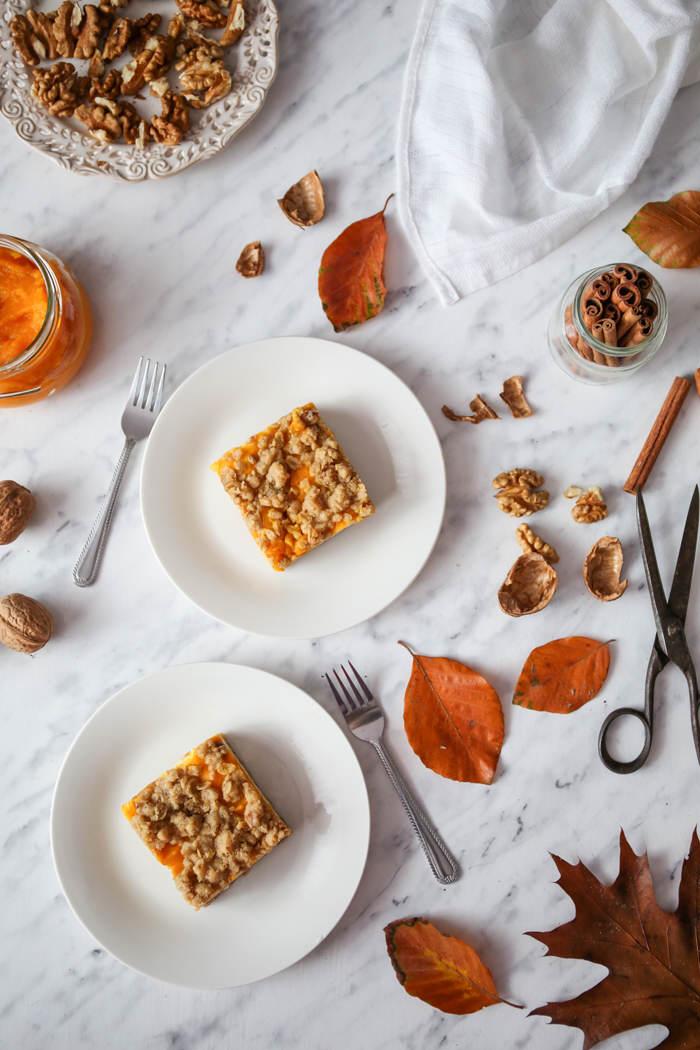 Przepis na ciasto serowo dyniowe z owsiana kruszonką